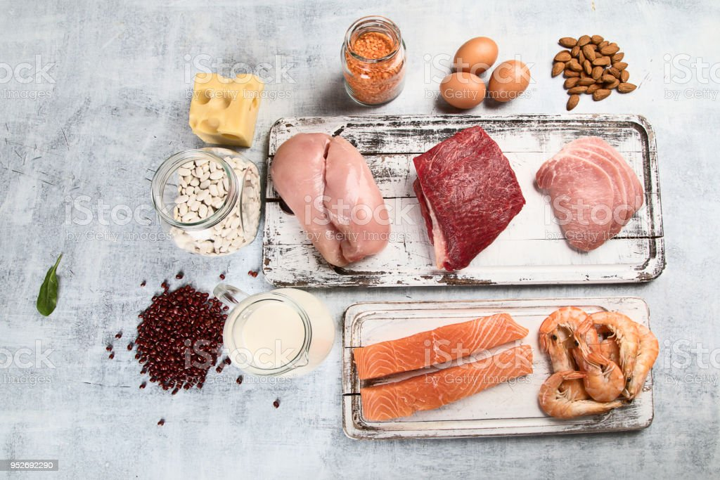 Food high in protein. Healthy eating concept royalty-free stock photo