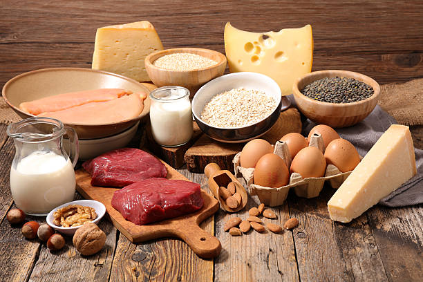 food high in protein,protein sources - protein stock photos and pictures