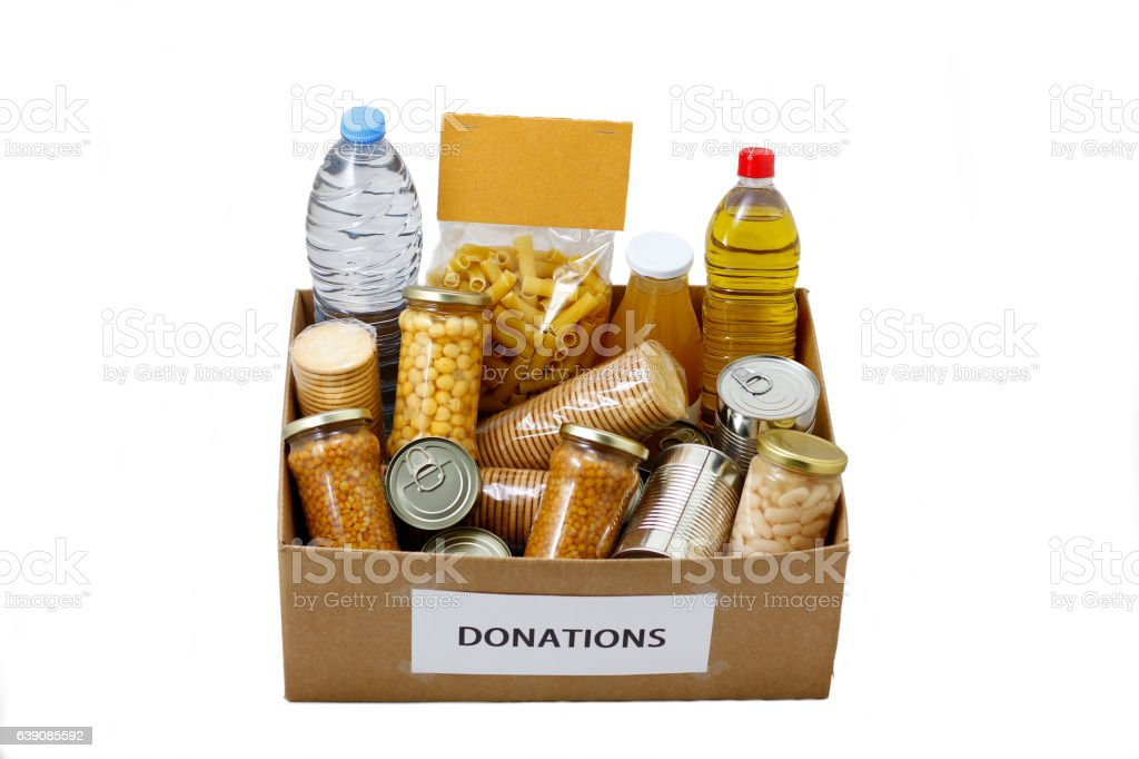 Food in a donation  box stock photo