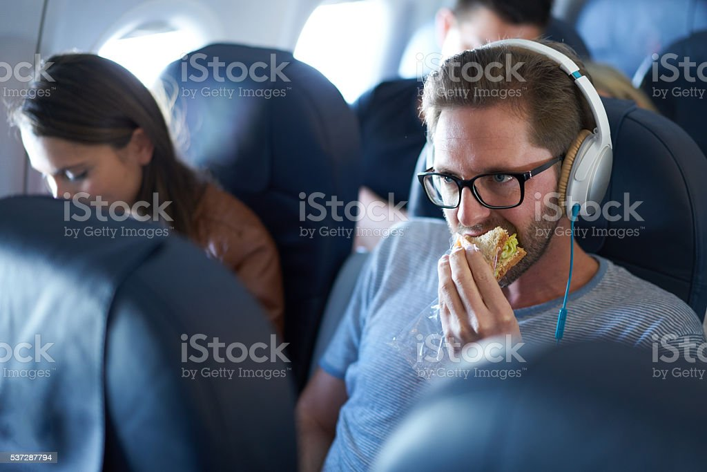 food in airplane stock photo