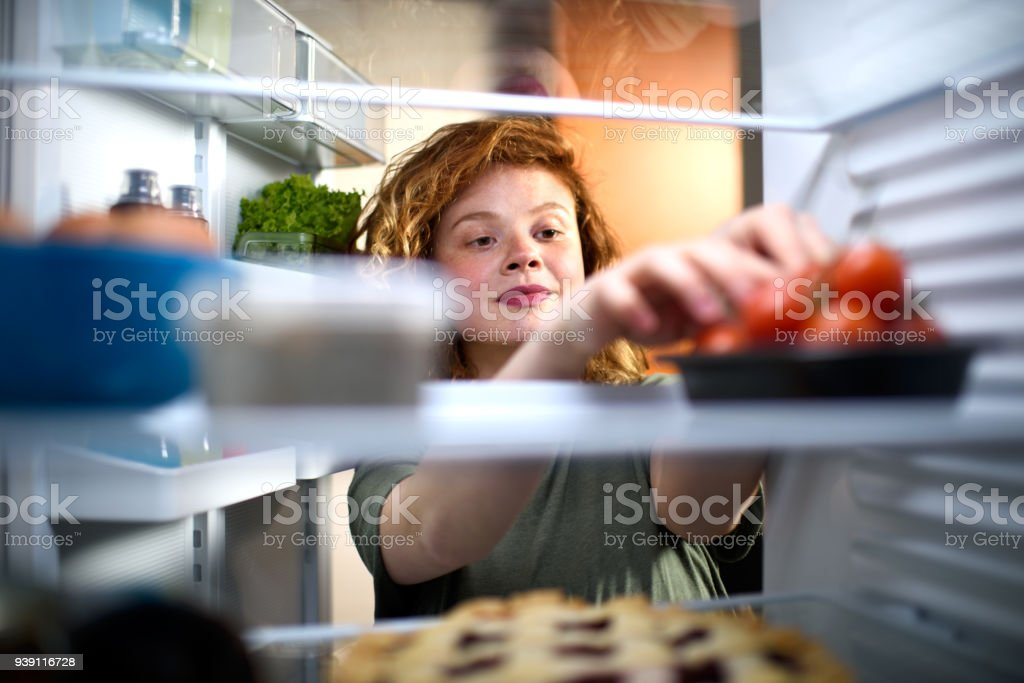 Food in the refrigerator stock photo