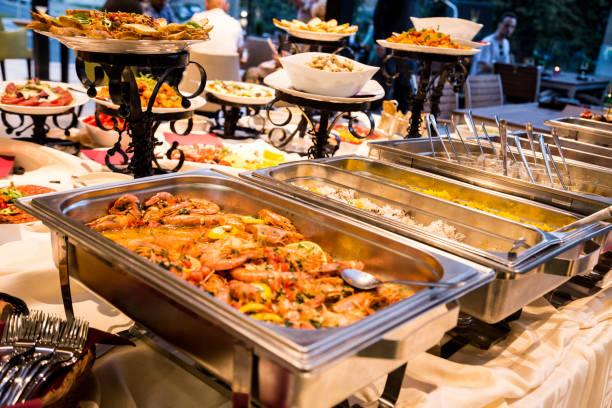 Food in the restaurant buffet breakfast stock photo