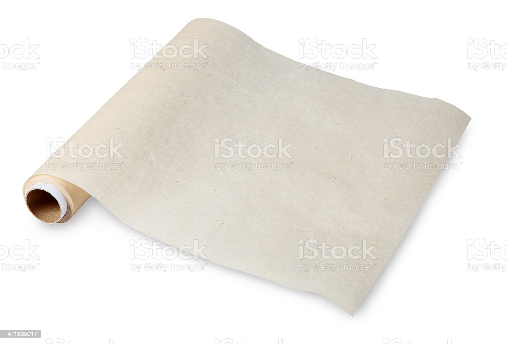 Food in twisted roll of parchment on sleeve, baking paper. stock photo