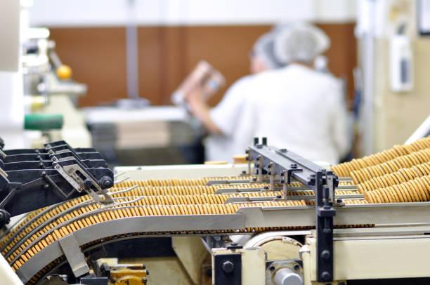 industrie - keks nahrungsmittelproduktion in einer fabrik auf einem förderband - grundnahrungsmittel stock-fotos und bilder