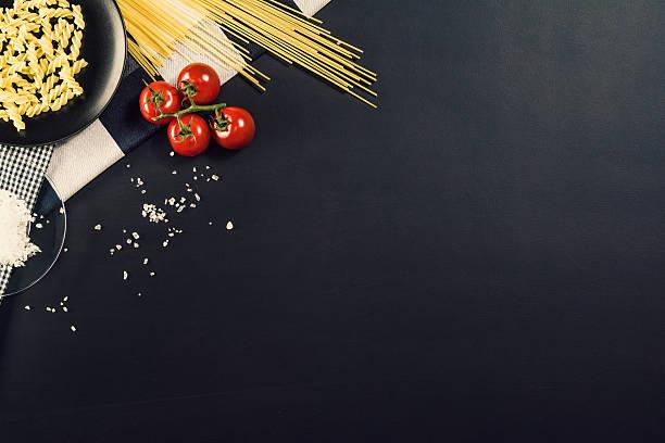 food ingredients background. photograph taken from above, top view. - italienische speisekarte stock-fotos und bilder