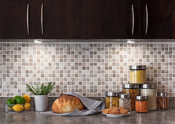 Food ingredients in a kitchen with cozy lighting stock photo