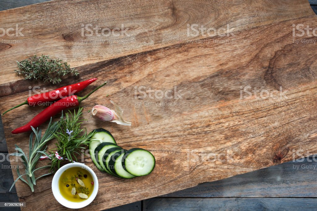 Food ingredients on a cutting board stock photo