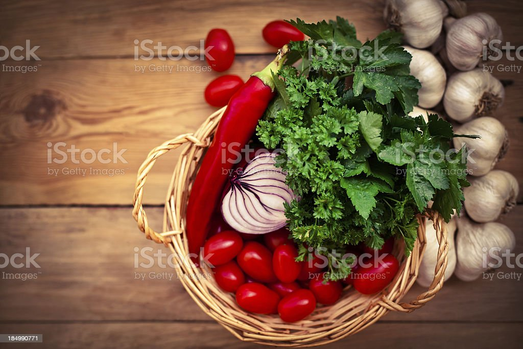 Food ingredients on the  rustic table royalty-free stock photo