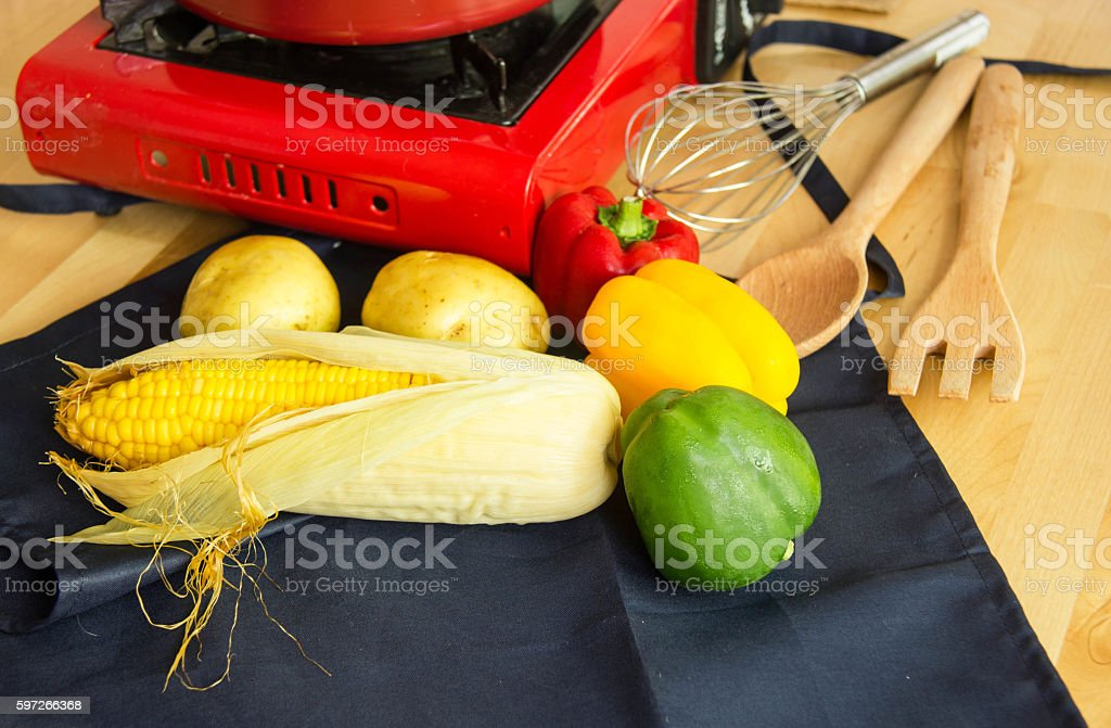 Food Ingredients With Kitchen Utensils For Cooking Lizenzfreies stock-foto