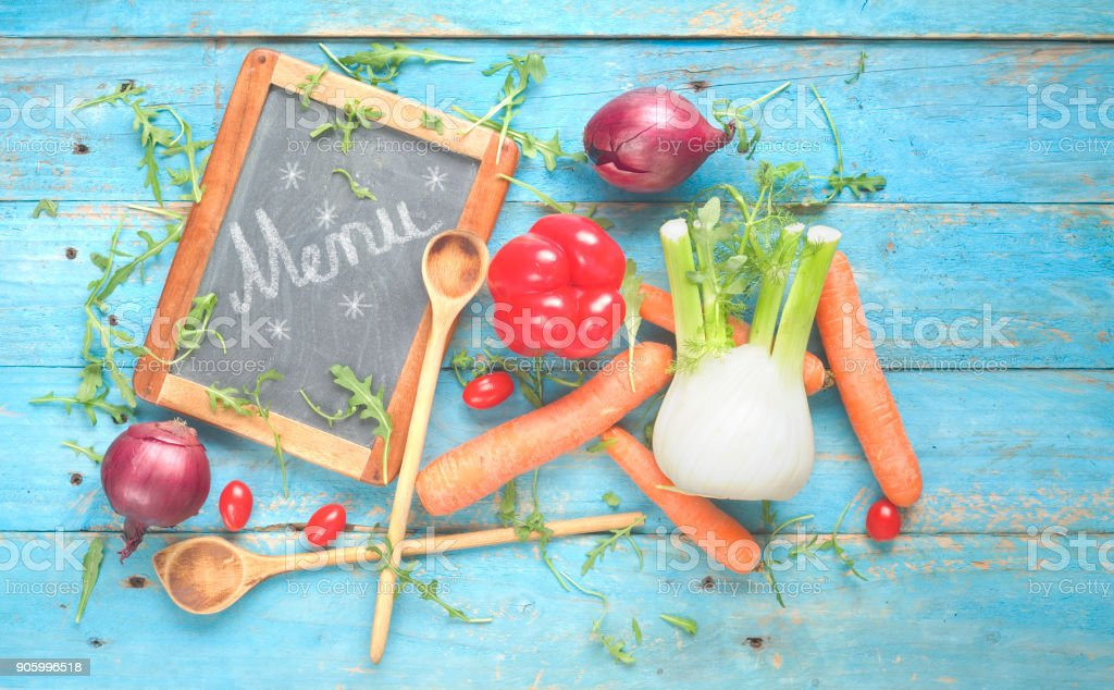 food ingredients,vegetables and chalkboard.flat lay stock photo