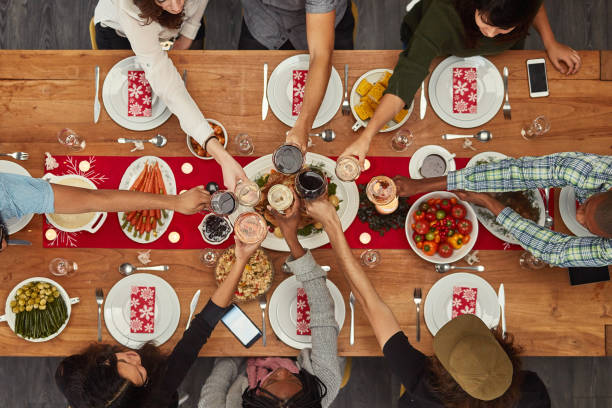 Food is best enjoyed with friends stock photo