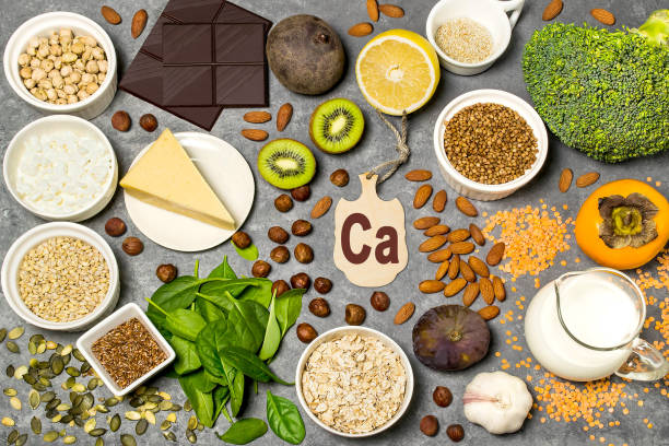 Food is source of calcium stock photo