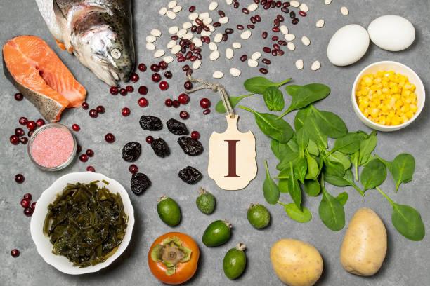 Food is source of iodine stock photo