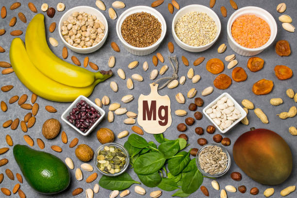 food is source of magnesium (mg) - magnesium stock photos and pictures