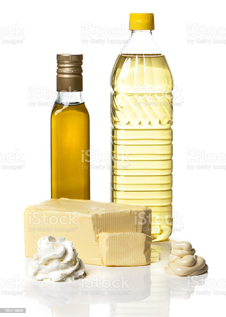 Food items representing the fatty food groups stock photo