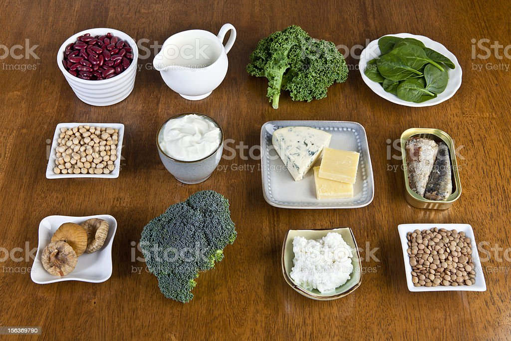 12 food items that are a good source of calcium, displayed  stock photo