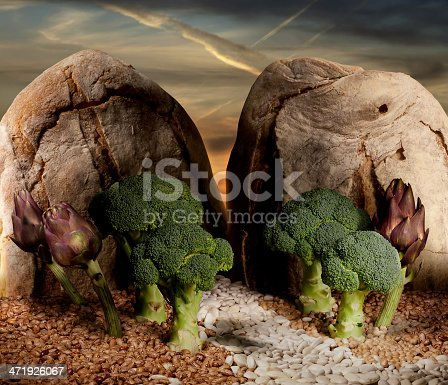 fairy landscape made with vegetables, beans, artichoke and bread