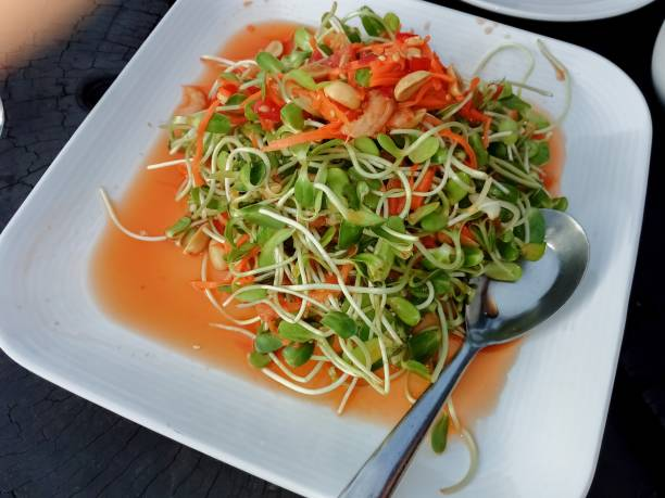 Food made from sunflower sprouts stock photo