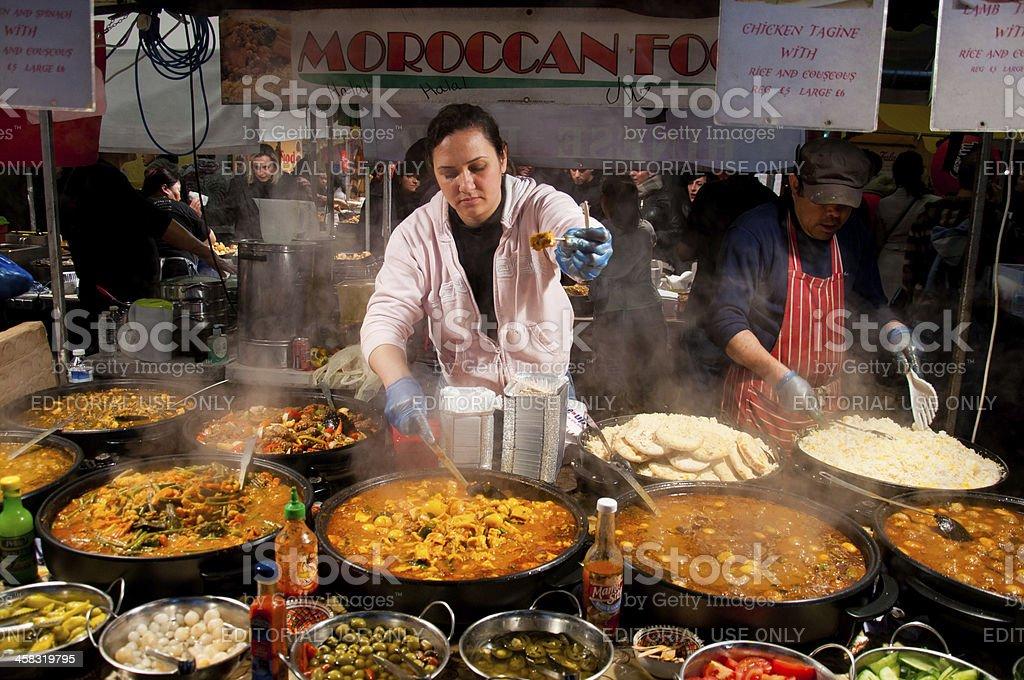 Food market in Brick lane-London stock photo