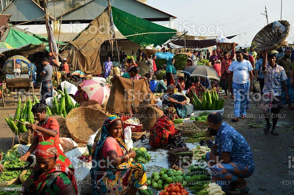 Food market in Dhaka, Bangladesh stock photo