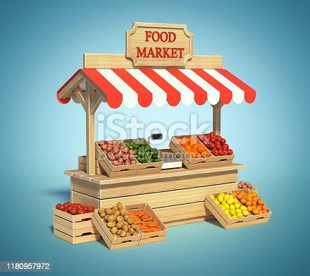 istock Food market kiosk, farmers shop, farm food stall 1180957972