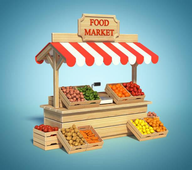 chiosco del mercato alimentare, negozio di agricoltori, bancarella di cibo agricolo - bancarella foto e immagini stock
