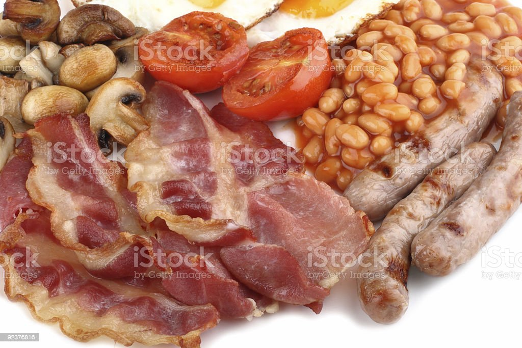 food meat - Traditional English breakfast close-up royalty-free stock photo