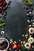 istock Food menu background - desserts 618872020
