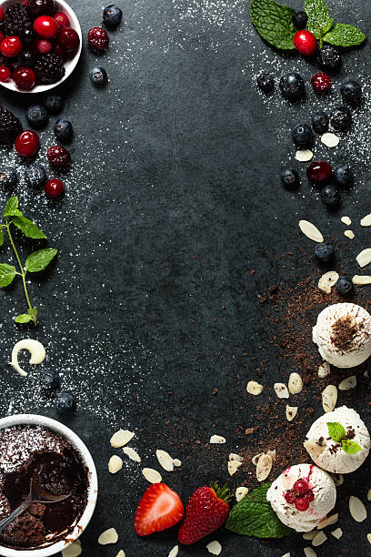 Food menu background - desserts - foto de stock