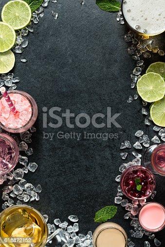 istock Food menu background - drinks 618872152