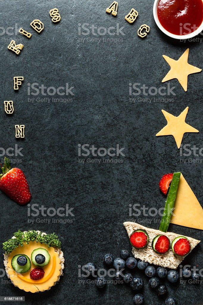 Food menu background - kids stock photo