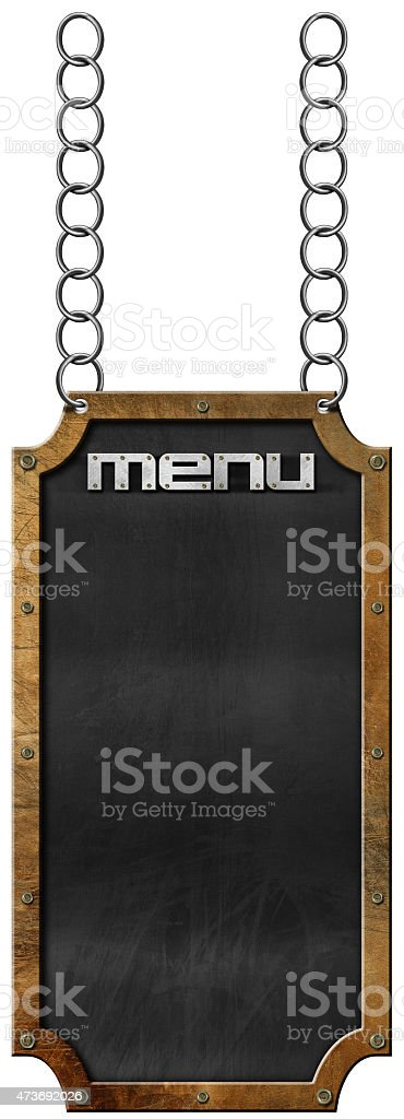 Food Menu - Blackboard with Chain stock photo