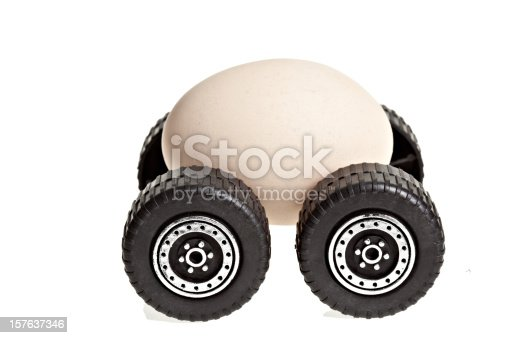 A conceptual image of an egg on wheels and the food miles associated with it in cost of energy, gas, and conservation on a pure white background. Available in 7 sizes from XSmall to XXXLarge.