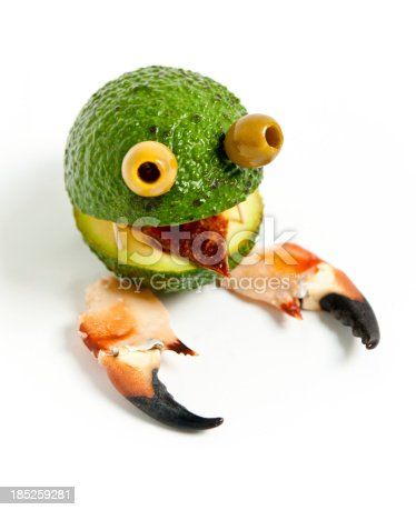 istock Food Monster: avocado, olives, sun-dried tomatoes and crab legs 185259281