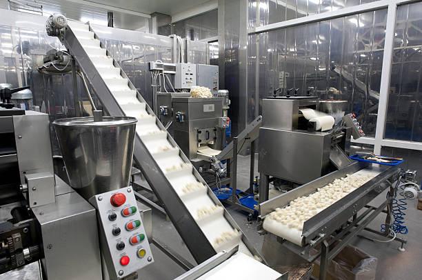 food moving through production line in factory - livsmedelstillverkningsfabrik bildbanksfoton och bilder