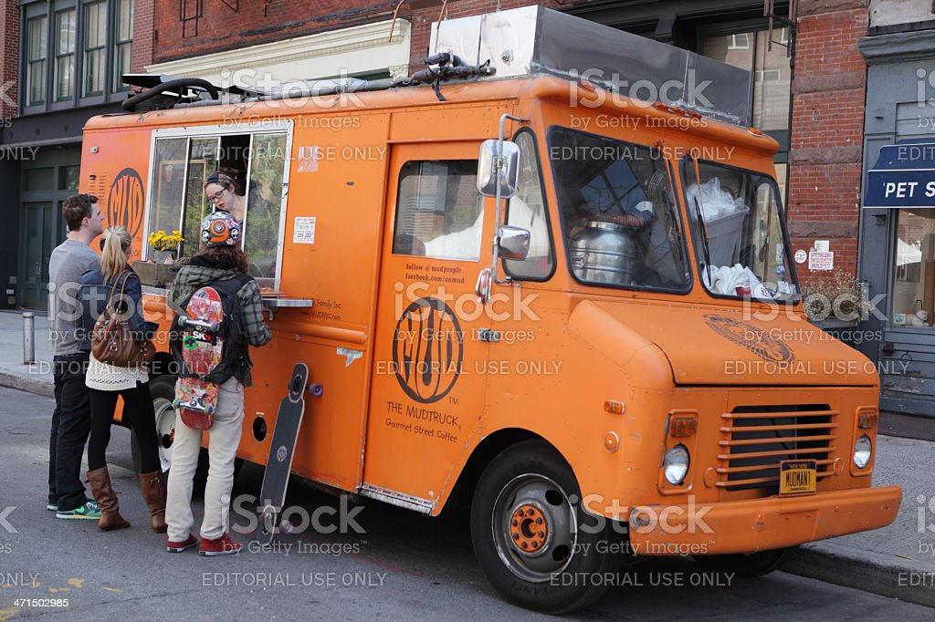 NYC food Mud Truck Gourmet Street Coffee in TriBeCa royalty-free stock photo