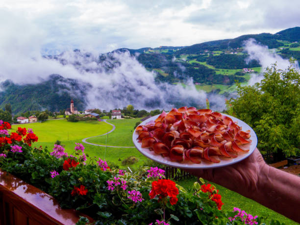 Food of the Dolomites: Speck stock photo