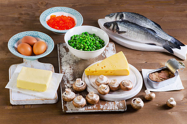 food of vitamin d. - vitamin d stok fotoğraflar ve resimler