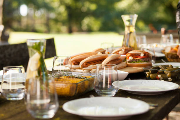 Food on a picnic table stock photo