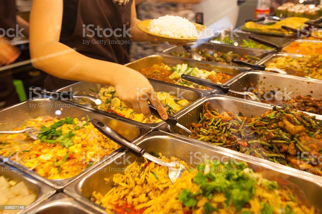 Food on the asian street market stock photo
