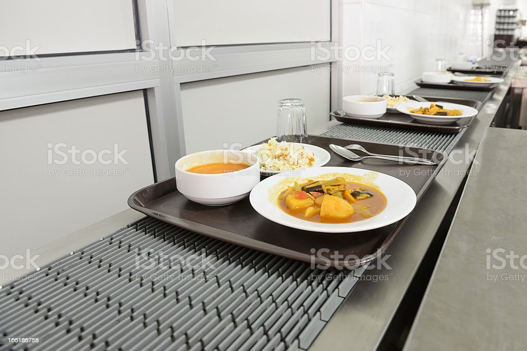 Food on the conveyor band royalty-free stock photo