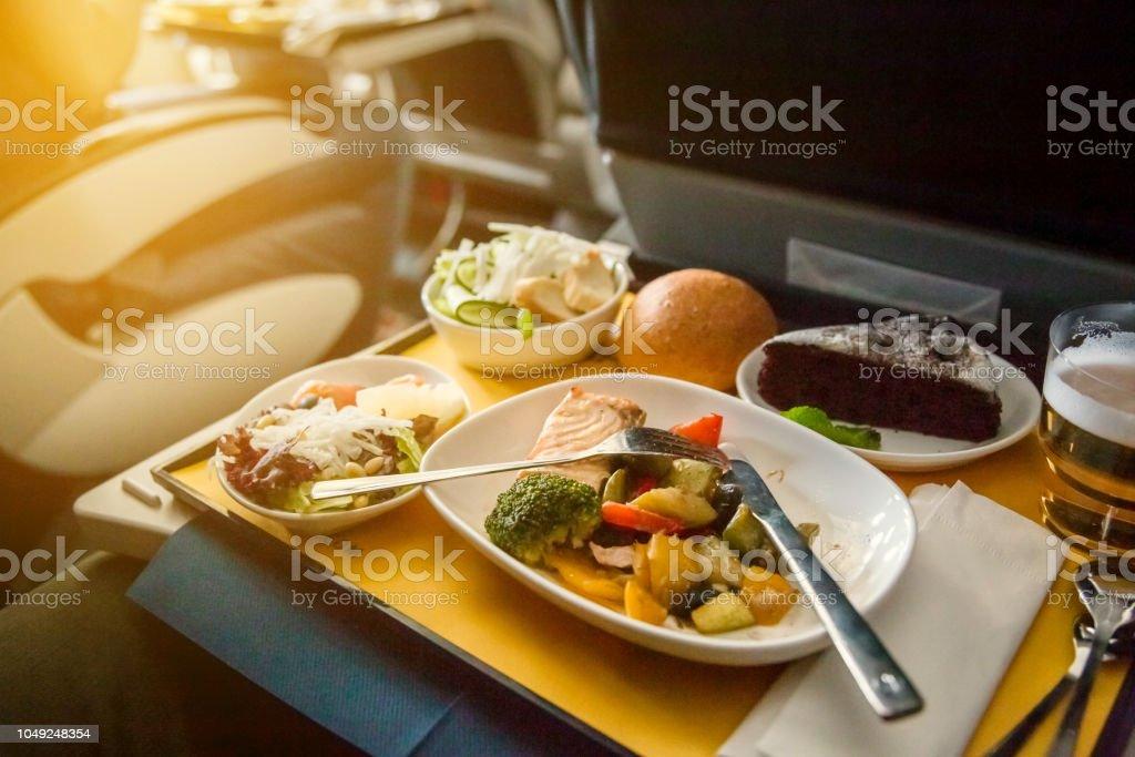 Comida En El Avión Viajar En Clase Business Foto De Stock Y Más