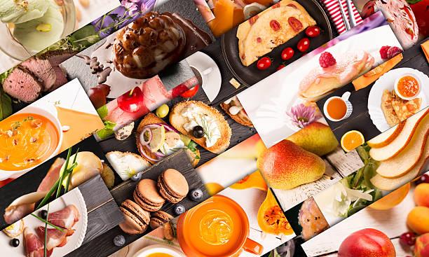 food foto-collage - schokolade gebratene kuchen stock-fotos und bilder