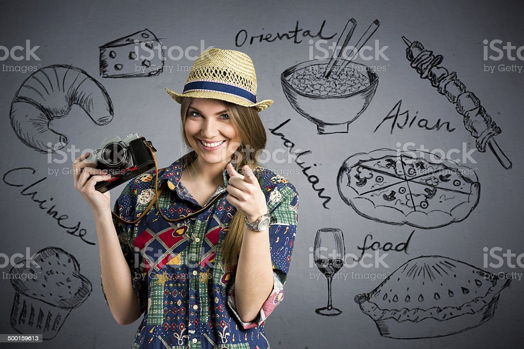 food photographer - Nice female tourist with draw different type stock photo