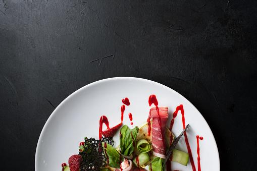 Food Photography Creative Restaurant Meal Concept - zdjęcia stockowe i więcej obrazów Bez ludzi