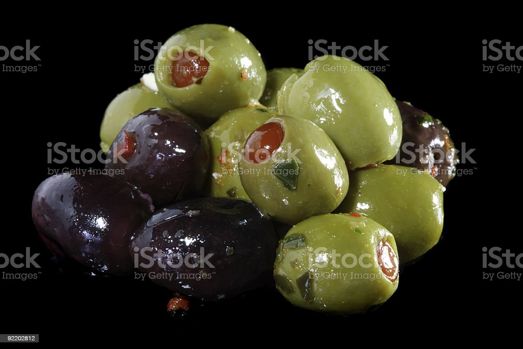 food pickled olives black and stuffed green royalty-free stock photo