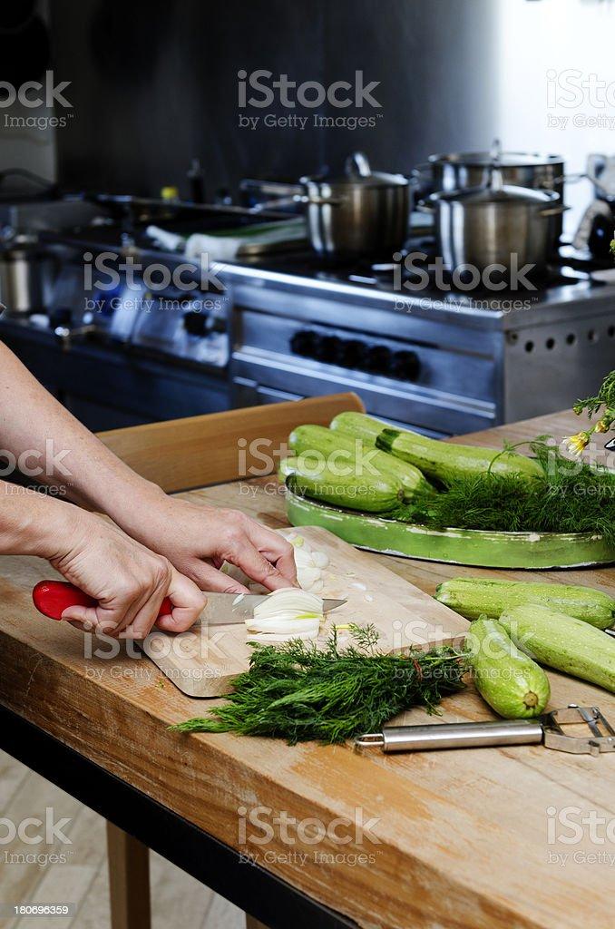 Food Preparation - Cutting Onion royalty-free stock photo