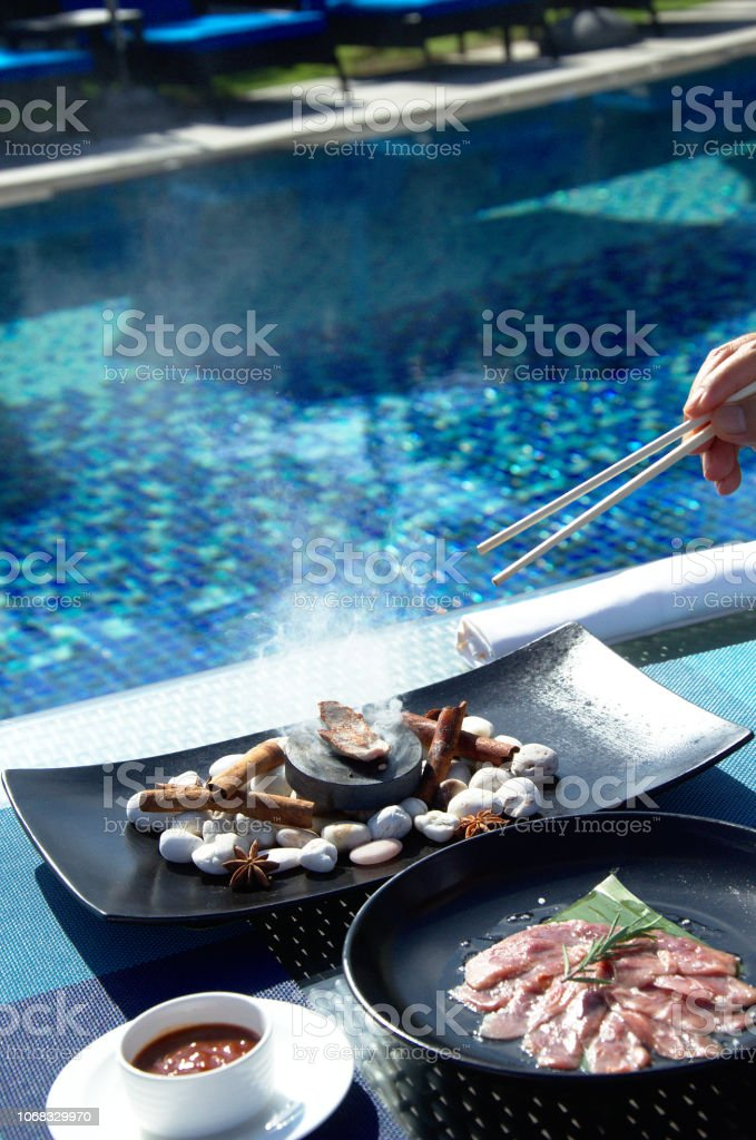 Food preparation on grill stock photo