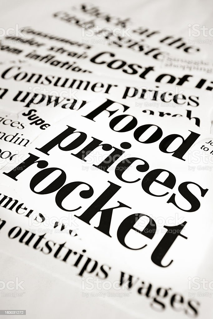 Food prices rocket say press headlines royalty-free stock photo
