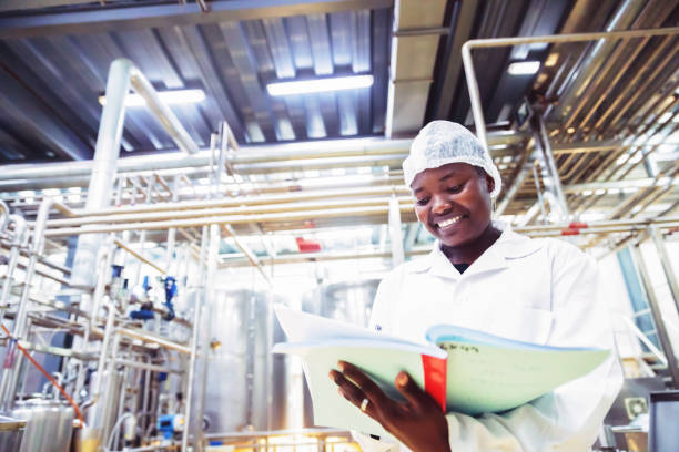 Food Processing Plant Engineer at Work in Africa stock photo